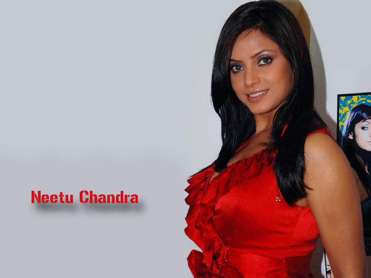 Neetu Chandra Red Dress Sexy Look wallpaper