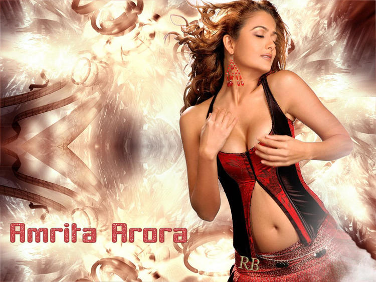 Amrita Arora Open Boob and Sexy Navel Show Wallpaper