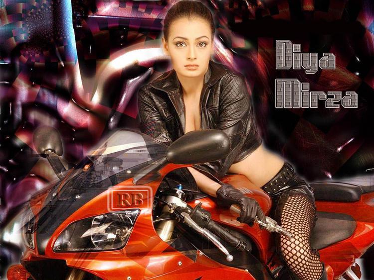 Diya Mirza Hot Bike Still