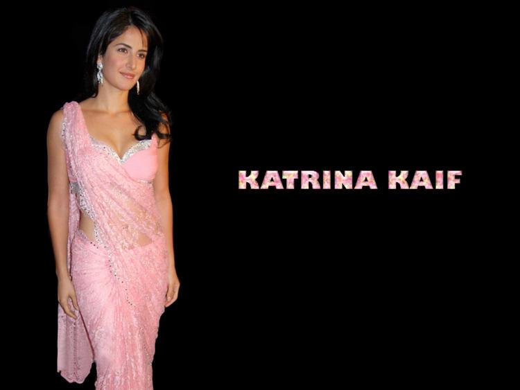 Katrina Kaif Pink Transparent Saree Awesome Wallpaper