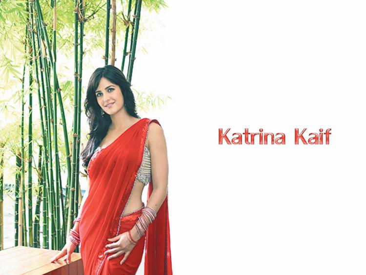 Katrina Kaif Red Saree Sexy Wallpaper