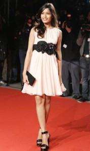 Freida Pinto In Pink Dress Sizzling Still