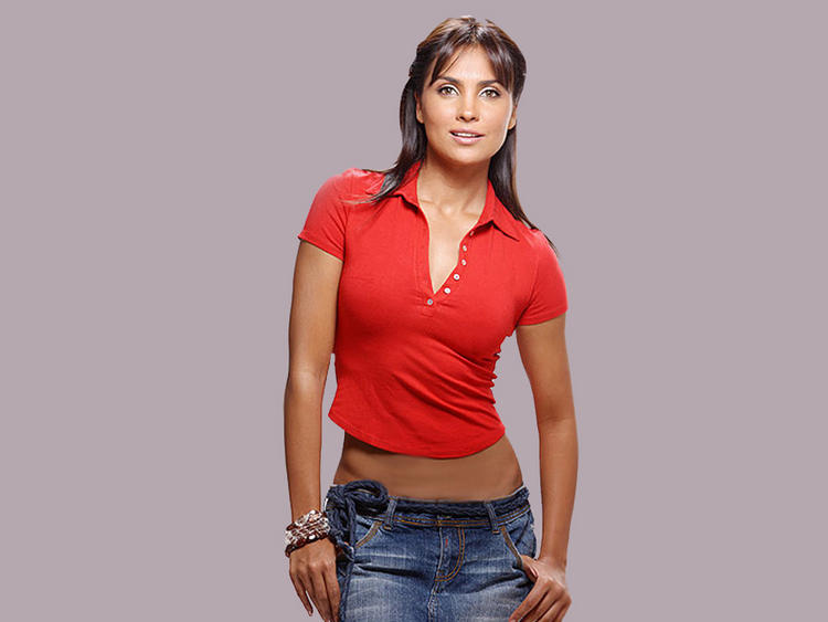 Lara Dutta Looks Hot In Short Red Tops and Jeans