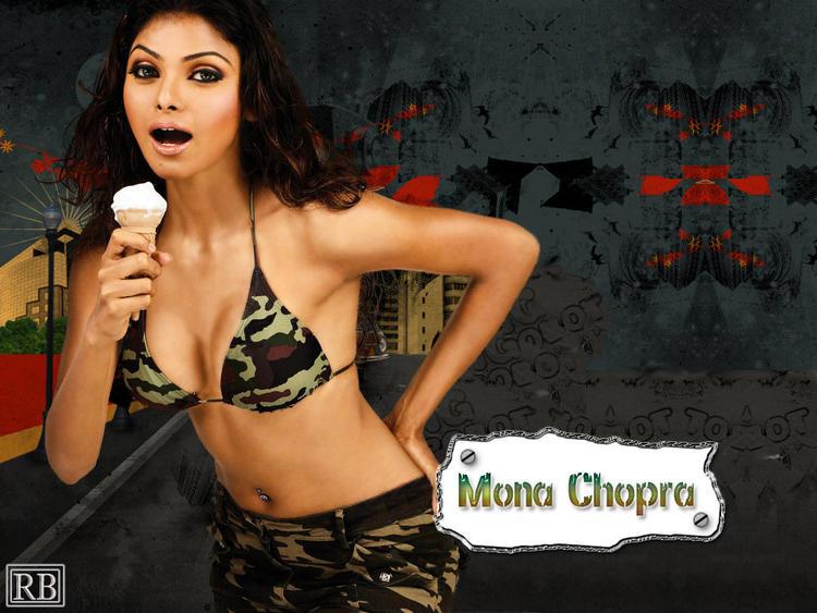 Mona Chopra Sexy Pose Walpaper With Ice Cream