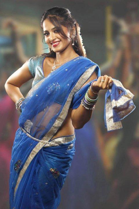 Anushka Shetty with Light Blue Color Saree Still