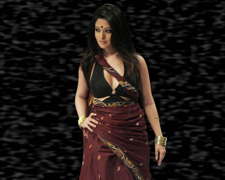 Riya Sen Sexy Saree Hot Wallpaper