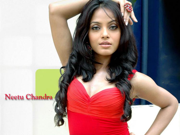 Neetu Chandra Hot Stunning Wallpaper In Red Dress
