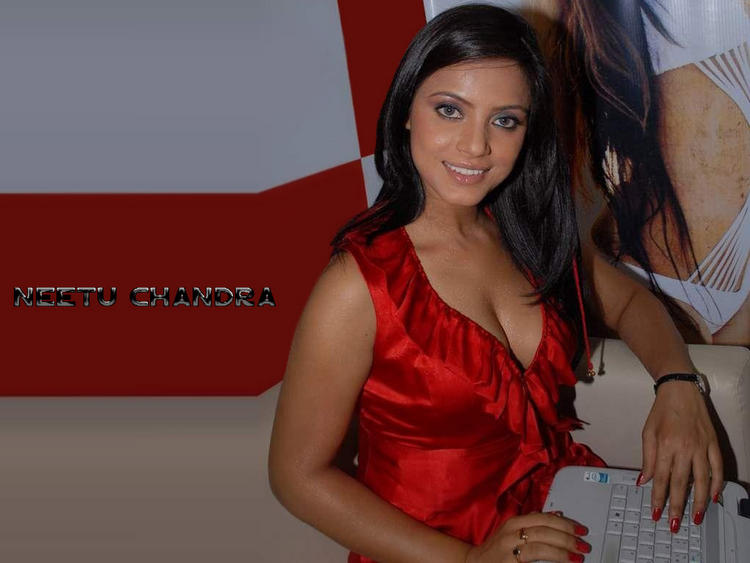 Neetu Chandra Red Dress Glamour Wallpaper