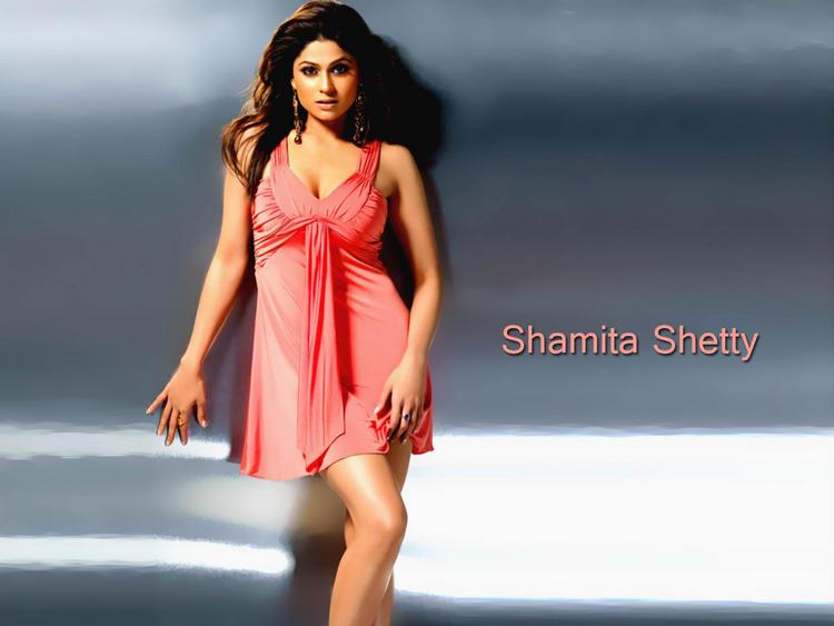 Shamita Shetty Pink Dress Sexiest Wallpaper