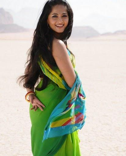 Anushka Shetty Green Color Saree Cute Photo