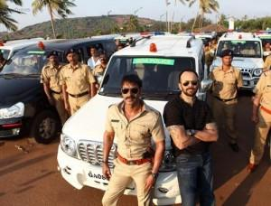 Ajay Devgan and Rohit On Sets Of Singham