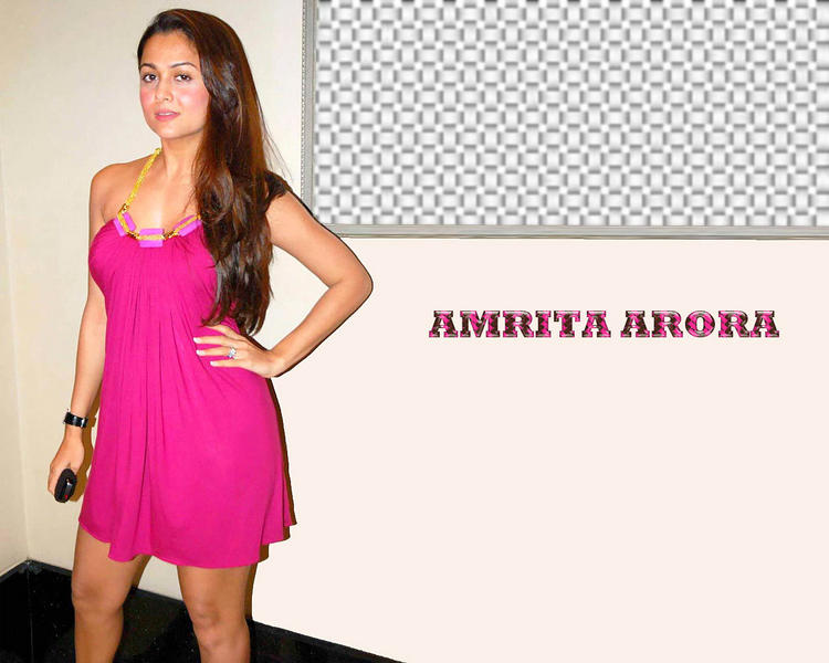 Amrita Arora Magenta Color Dress Wallpaper