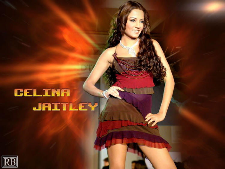 Celina Jaitley Curly Hair Wallpaper With Cute Dress