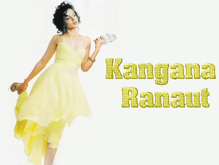 Kangana Ranaut Yellow Dress Wallpaper