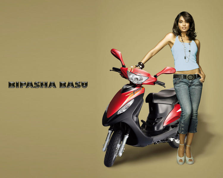 Bipasha Basu Sexy Wallpaper With Scooty