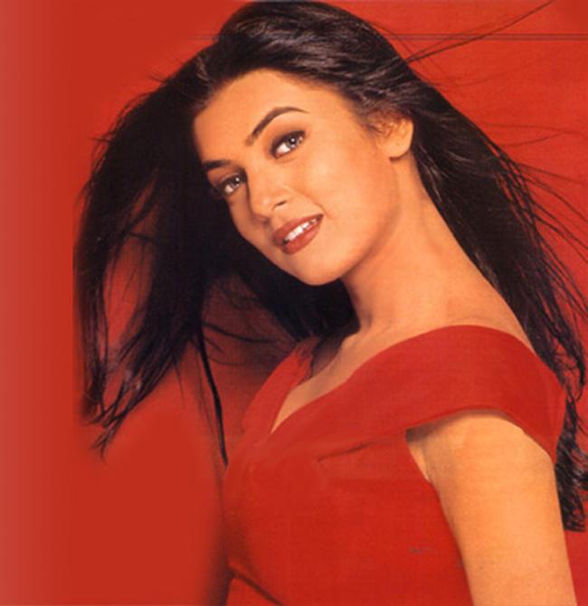 Hottest Sushmita Sen Red Dress Wallpaper