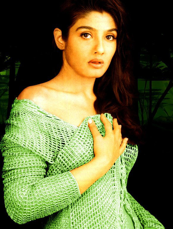 Raveena Tandon Light Green Dress Hottest Wallpaper