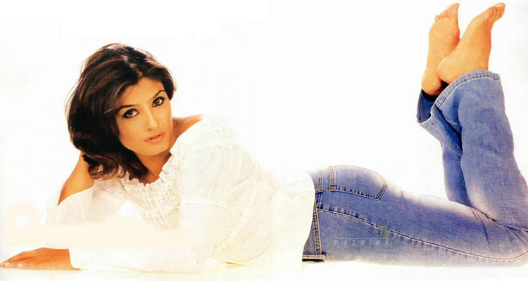 Raveena Tandon In White Shirt And Jeans