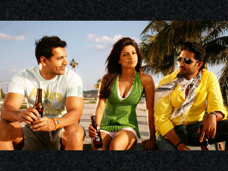 Priyanka,John Abraham and Abhishek In Dostana
