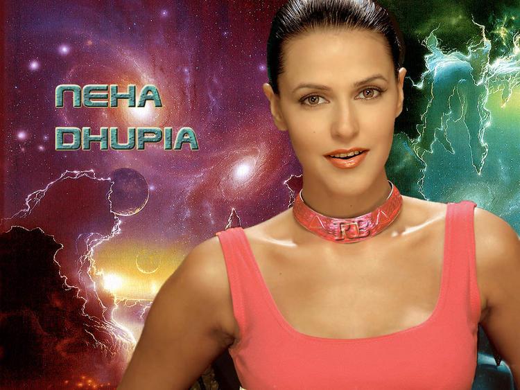 Neha Dhupia Pink Dress Sexy Wallpaper