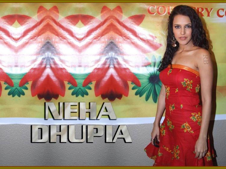 Neha Dhupia Red Sleeveless Dress Wallpaper