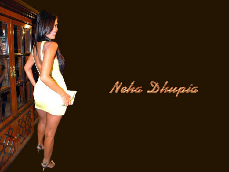 Neha Dhupia Sexy Back Bare Wallpaper