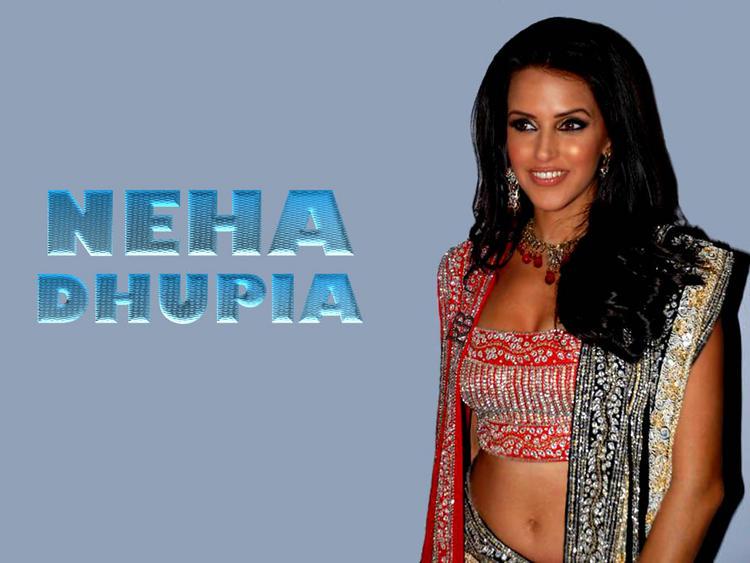 Neha Dhupia Sexy Saree Gorgeous Wallpaper
