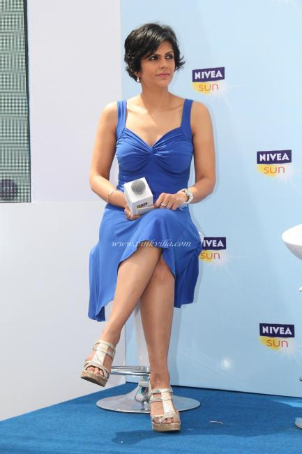 Mandira Bedi Blue Dress Still at the launch of NIVEA Sun
