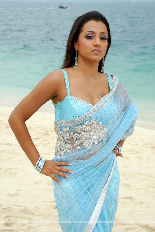 Trisha Krishnan Beach Photo In Transparent Saree