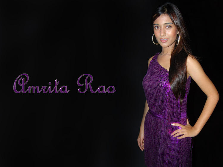 Amrita Rao Dark Violet Color Dress Wallpaper