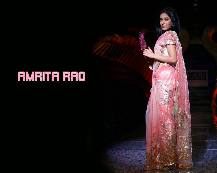 Amrita Rao Wallpaper In Pink Gorgeous Saree
