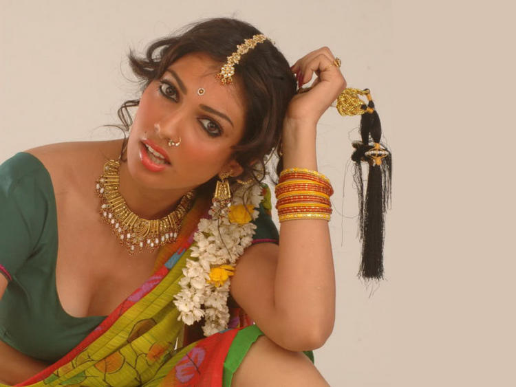 Yukta Mookhey Sexy Cleavages Pic In Saree