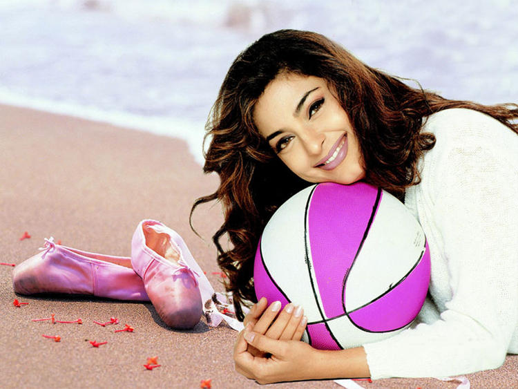 Juhi Chawla Sweet Still On The Beach With Ball