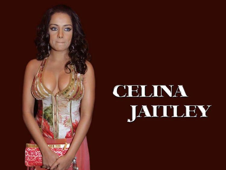 Celina Jaitley Open Boob Wallpaper