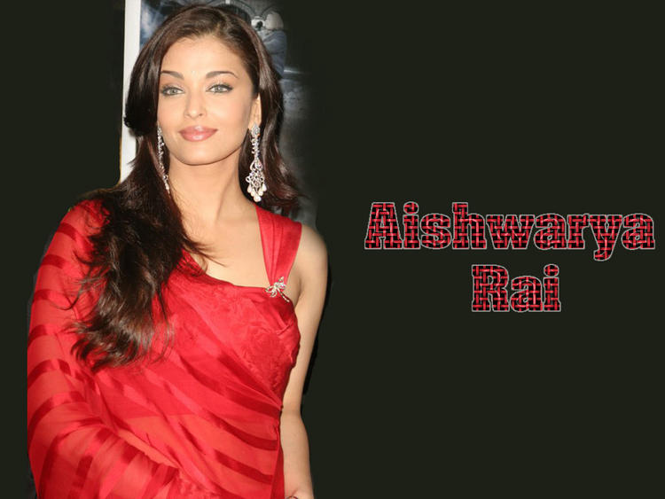Sexy Aishwarya Rai Red Saree Wallpaper