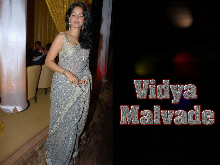 Vidya Malvade Gray Color Saree Wallpaper
