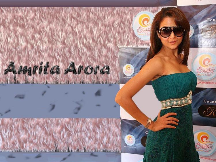 Amrita Arora Deep Green Dress Wallpaper