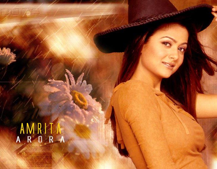 Amrita Arora Wearing Hat Wallpaper