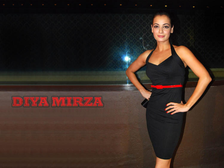 Diya Mirza Tight Black Dress Wallpaper