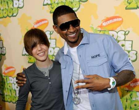Justin Bieber and Usher Poses To Photo Shoot