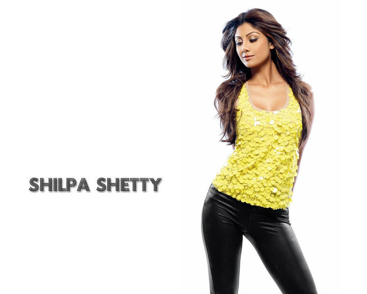 Shilpa Shetty Sexy Pose Wallpaper With Yellow Tops