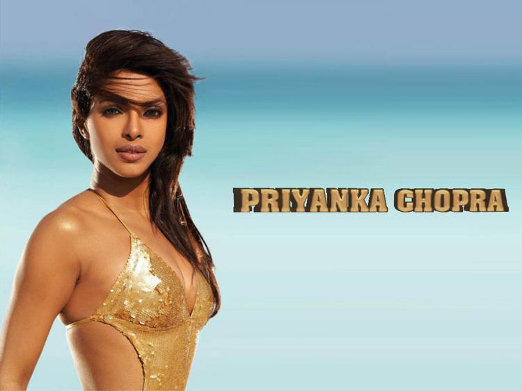 Priyanka Chopra Golden Bikini Hot Wallpaper