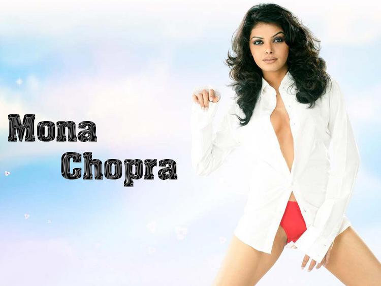 Mona Chopra White Shirt Boob Show Pic