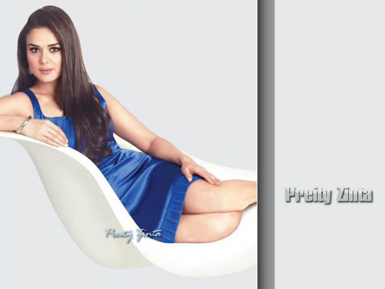 Preity Zinta Blue Dress Spicy Look Wallpaper