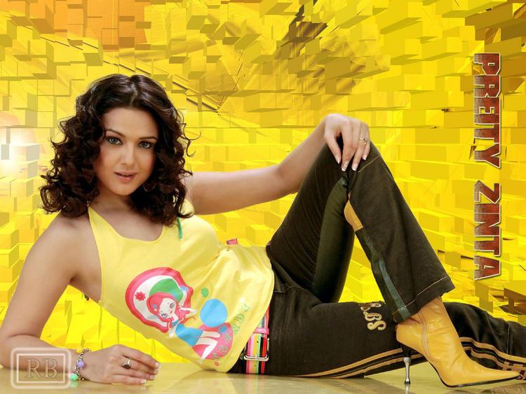 Preity Zinta Curly hair Sexy Pose Wallpaper