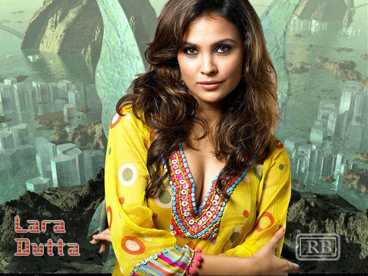 Lara Dutta Deep Cleavages Wallpaper