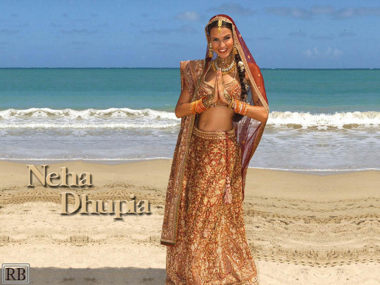 Neha Dhupia Bridal Dress Beautiful Wallpaper