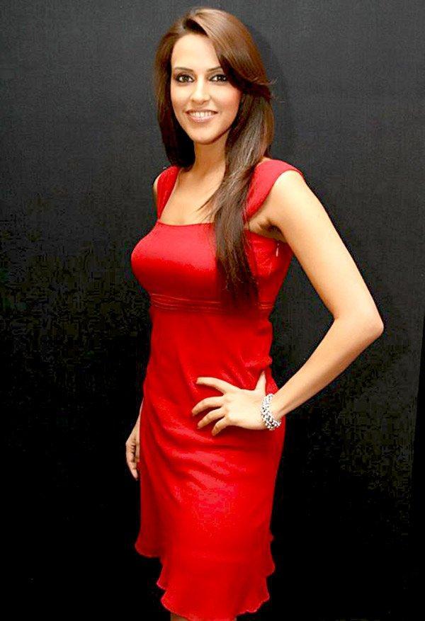 Neha Dhupia Brown Hair Pic In Red Dress