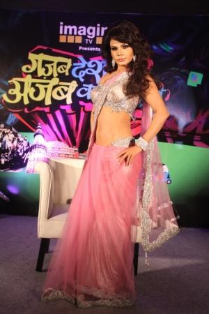 Rakhi Sawant Pink Saree Sexy Still