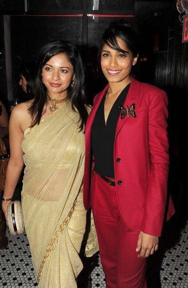 Pooja Kumar and Freida Pinto attend the Tribeca Film Festival 2012